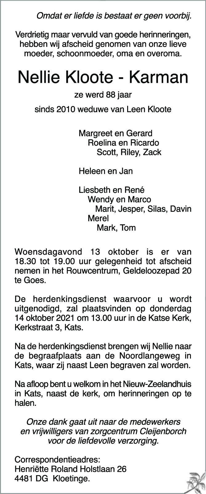 Overlijdensbericht van Nellie Kloote-Karman in PZC Provinciale Zeeuwse Courant