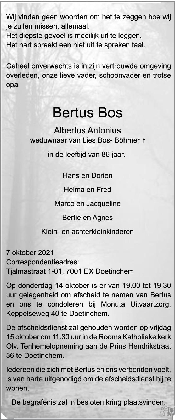 Overlijdensbericht van Bertus (Albertus Antonius) Bos in de Gelderlander
