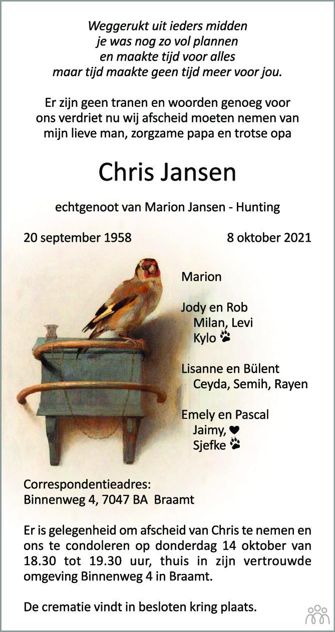 Overlijdensbericht van Chris Jansen in de Gelderlander