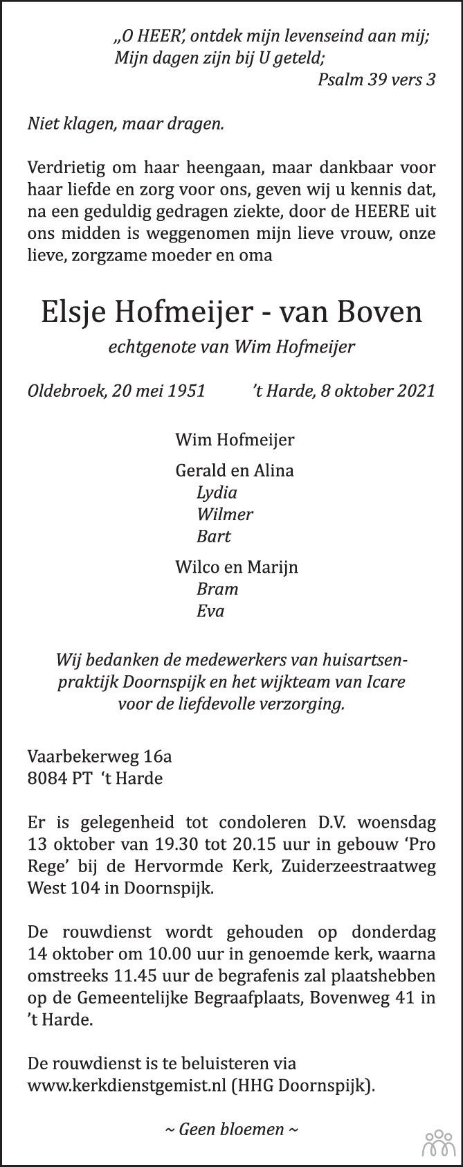 Overlijdensbericht van Elsje Hofmeijer-van Boven in de Stentor