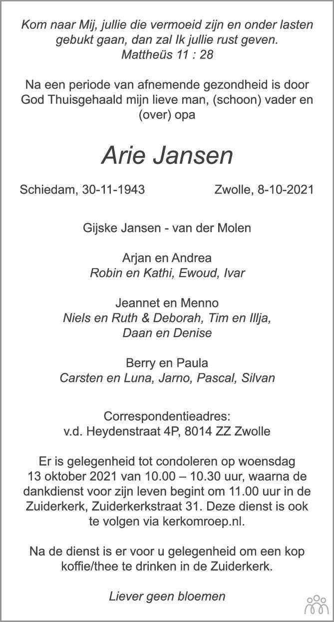 Overlijdensbericht van Arle Jansen in de Stentor