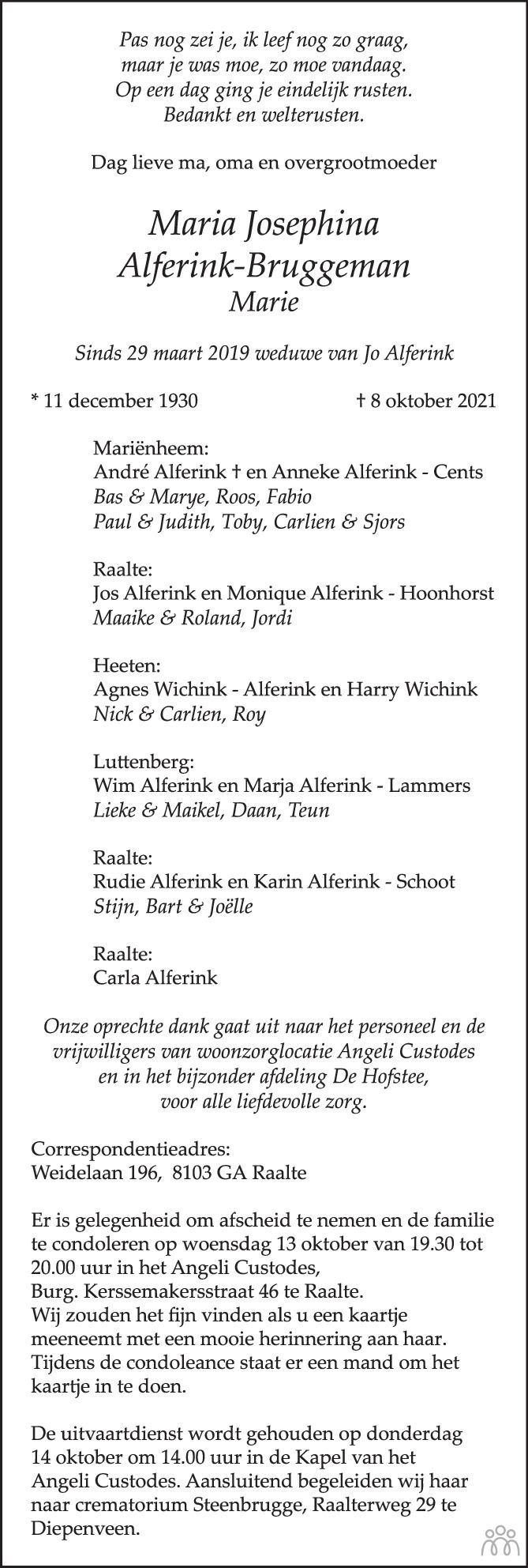 Overlijdensbericht van Maria Josephina Alferink-Bruggeman in de Stentor