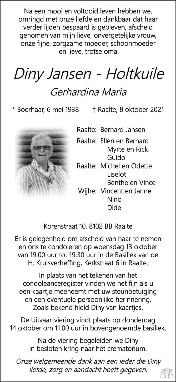 Overlijdensbericht van Diny Jansen-Holtkuile in de Stentor