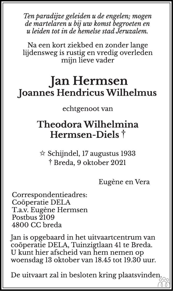 Overlijdensbericht van Jan (Joannes Hendricus Wilhelmus) Hermsen in BN DeStem