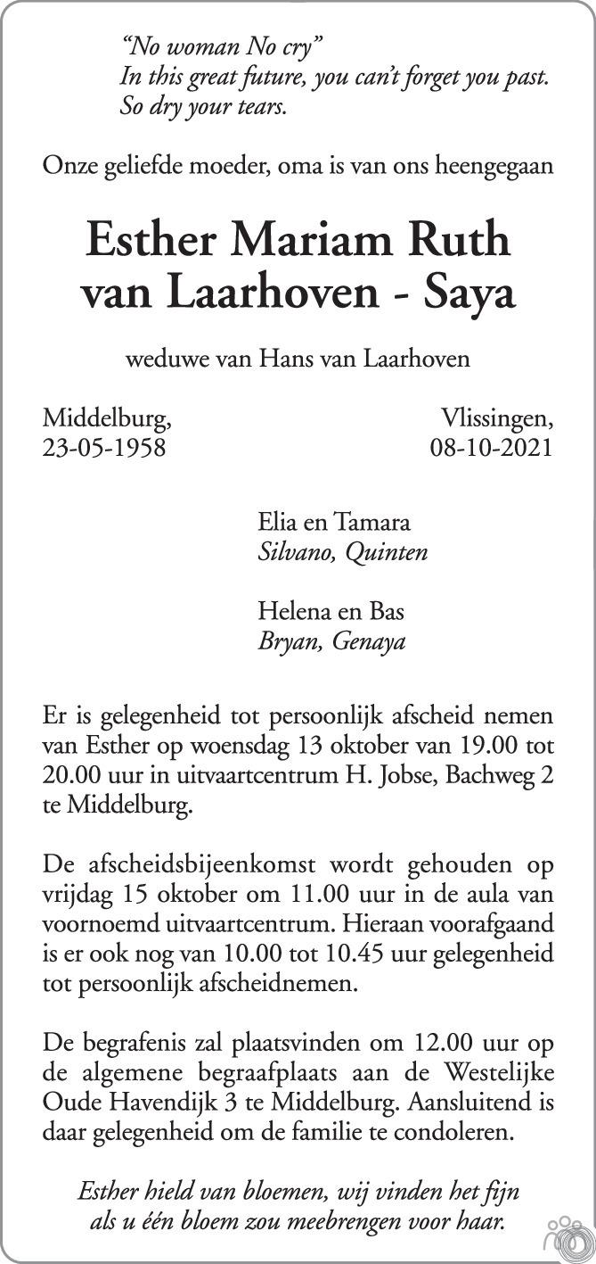 Overlijdensbericht van Esther Mariam Ruth van Laarhoven-Saya in PZC Provinciale Zeeuwse Courant