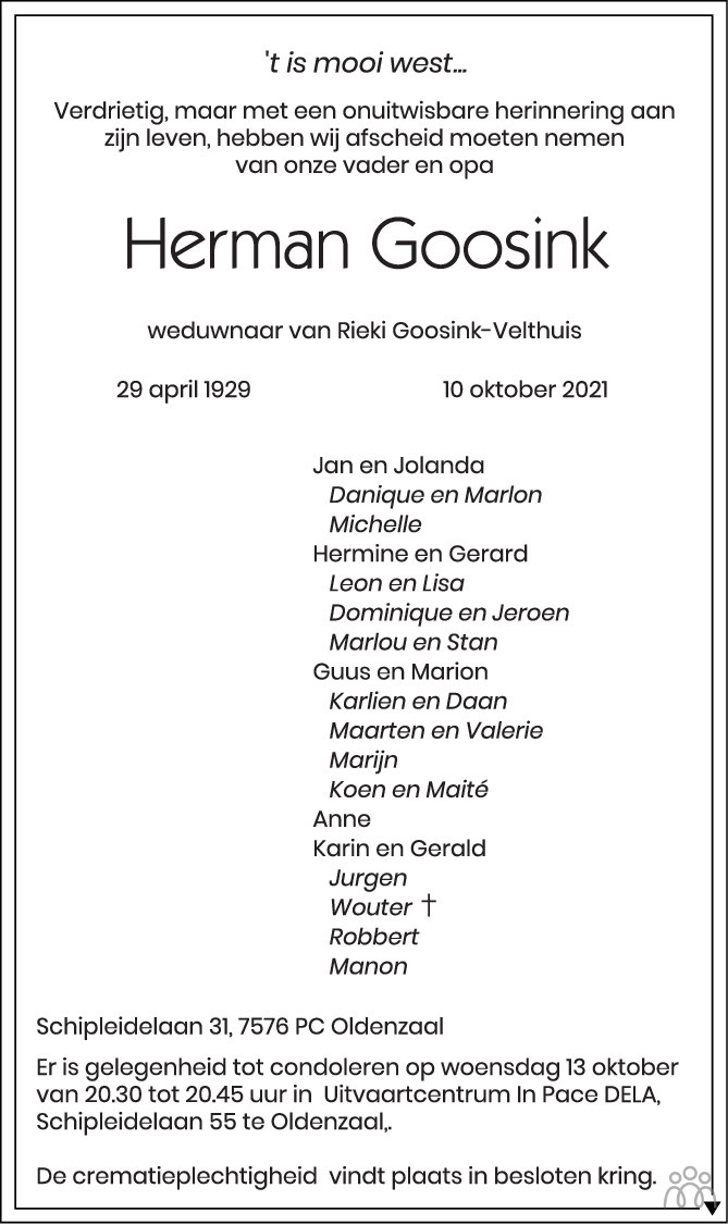 Overlijdensbericht van Herman Goosink in Tubantia