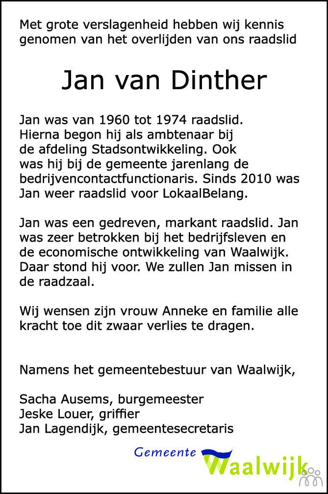 Overlijdensbericht van Jan van Dinther in Brabants Dagblad