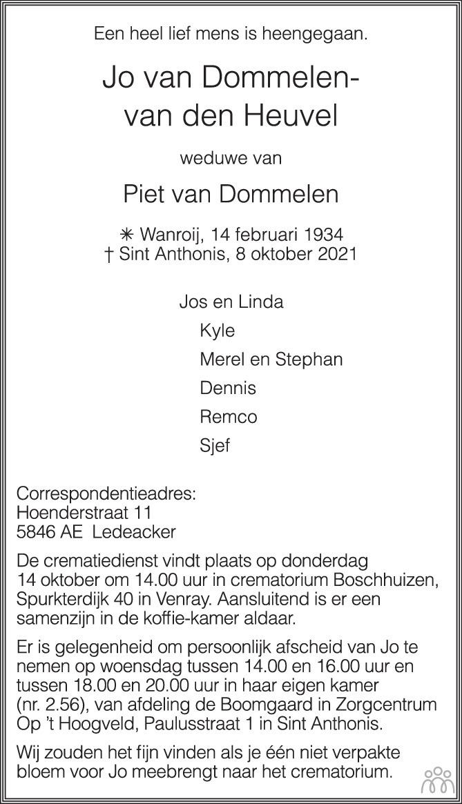 Overlijdensbericht van Jo van Dommelen-van den Heuvel in de Gelderlander