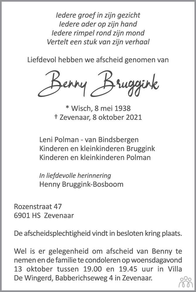 Overlijdensbericht van Benny Bruggink in de Gelderlander
