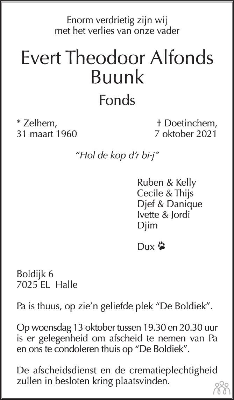 Overlijdensbericht van Evert Theodoor Alfonds Buunk in de Gelderlander