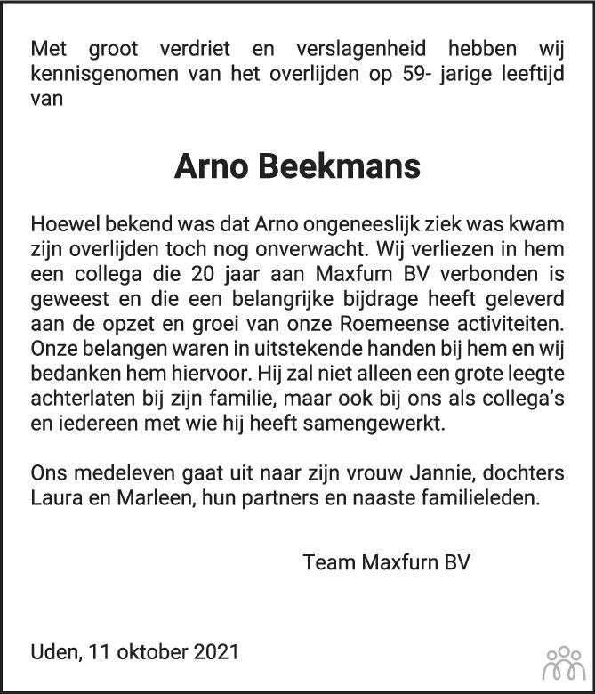 Overlijdensbericht van Arno Beekmans in Brabants Dagblad