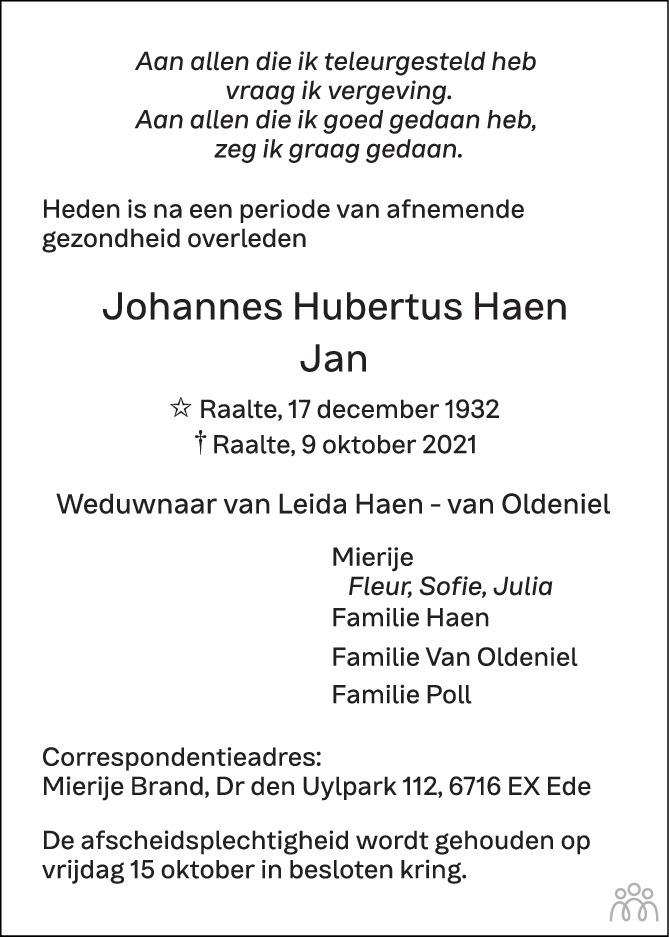 Overlijdensbericht van Johannes Hubertus (Jan) Haen in de Stentor
