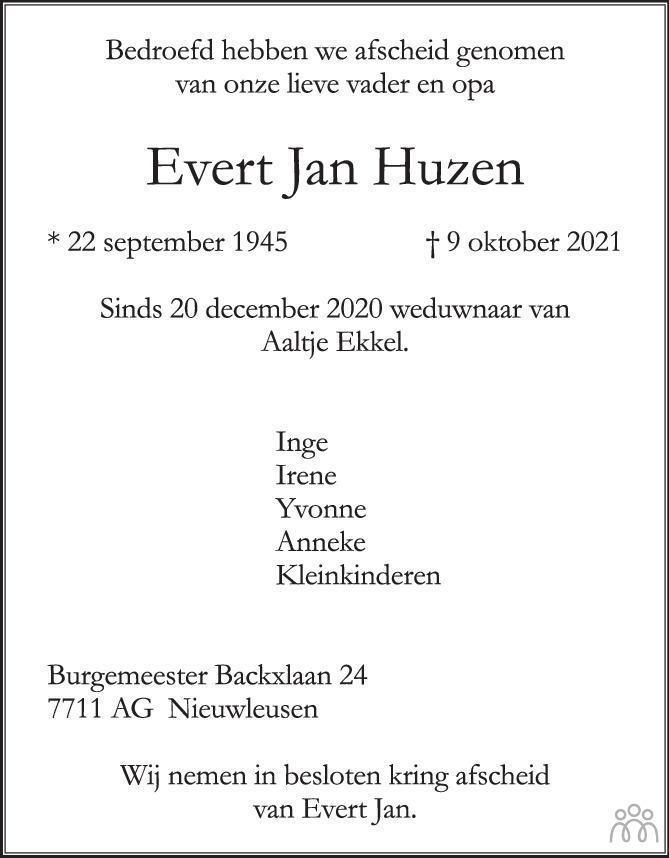 Overlijdensbericht van Evert Jan Huzen in de Stentor