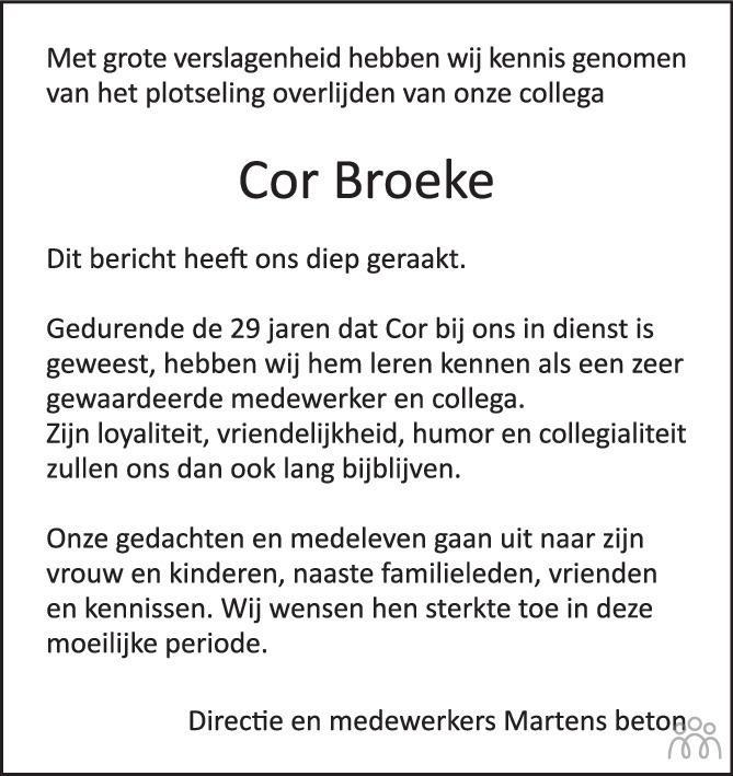 Overlijdensbericht van Cor Broeke in BN DeStem