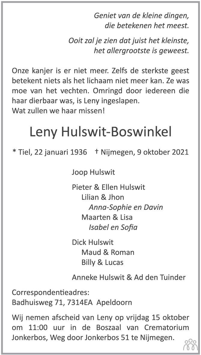 Overlijdensbericht van Leny Hulswit-Boswinkel in de Gelderlander