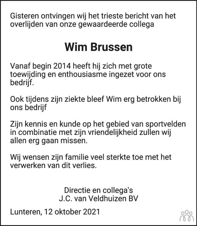Overlijdensbericht van Wim Brussen in de Gelderlander