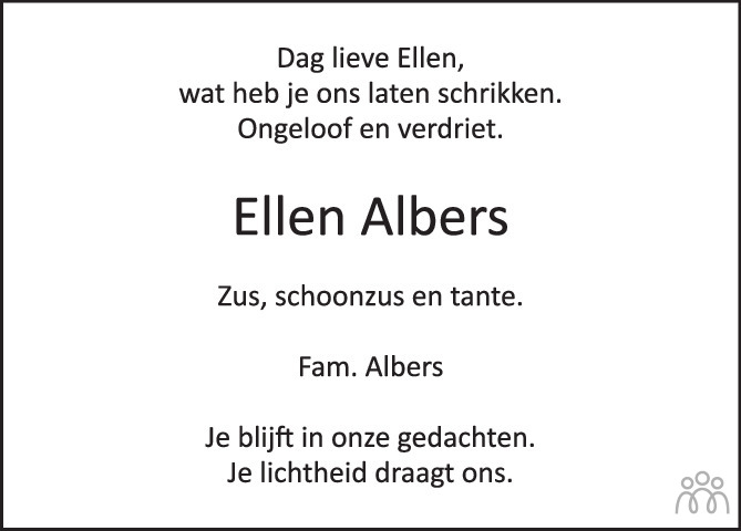 Overlijdensbericht van Eleonora Maria Josepha (Ellen) ten Have-Albers in de Stentor