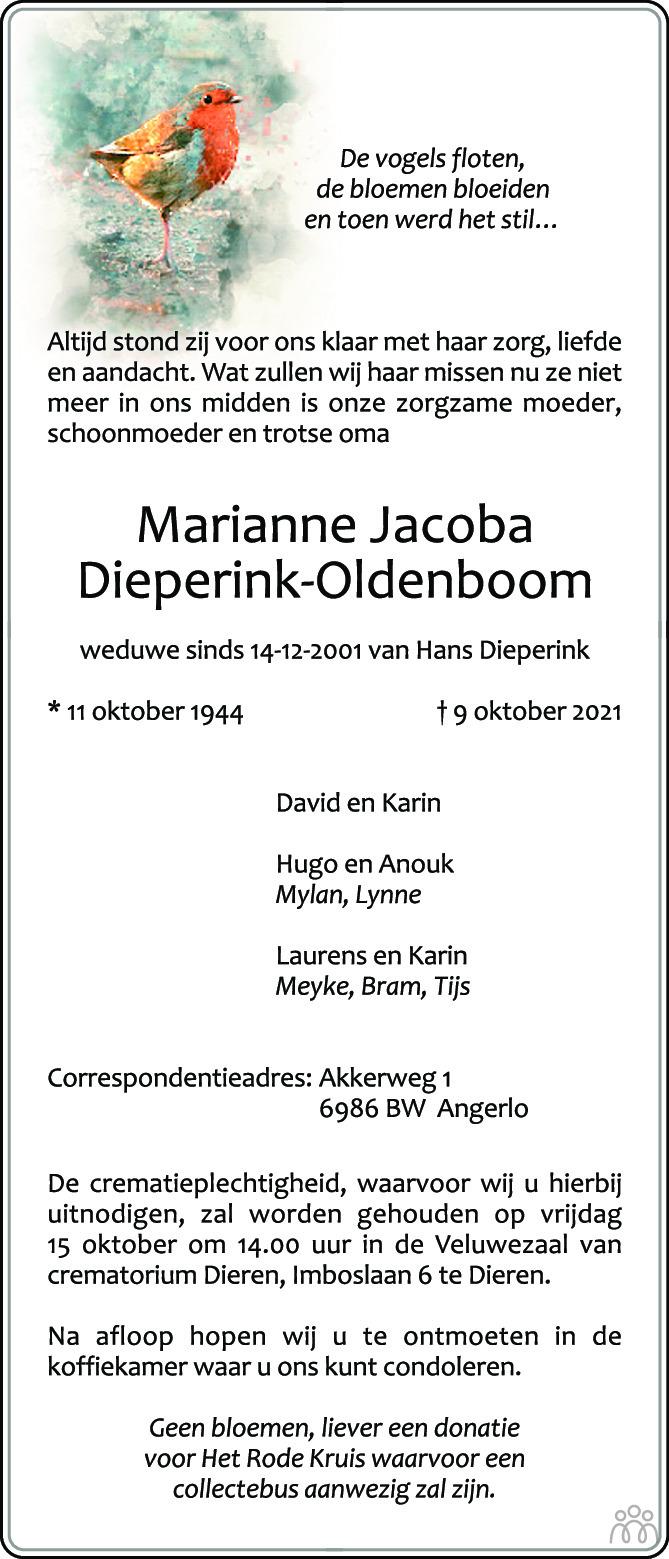 Overlijdensbericht van Marianne Jacoba Dieperink-Oldenboom in de Gelderlander