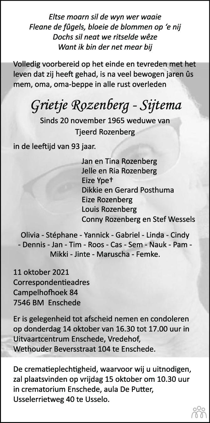 Overlijdensbericht van Grietje Rozenberg-Sijtema in Tubantia