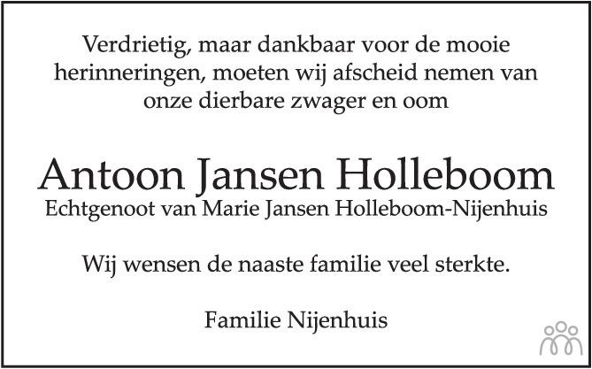 Overlijdensbericht van Antoon Jansen Holleboom in de Stentor