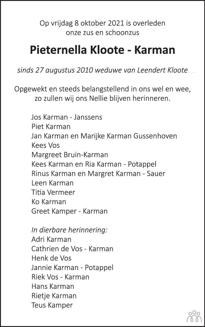 Overlijdensbericht van Pieternella Kloote-Karman in PZC Provinciale Zeeuwse Courant