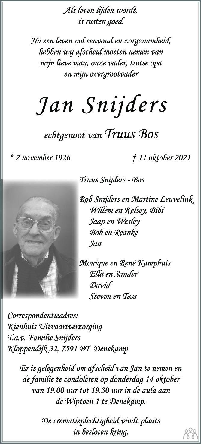Overlijdensbericht van Jan Snijders in Tubantia