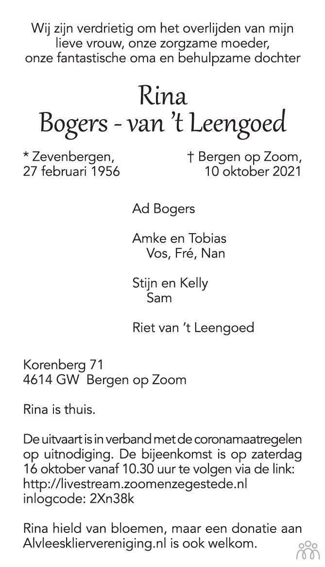 Overlijdensbericht van Rina Bogers-van 't Leengoed in BN DeStem