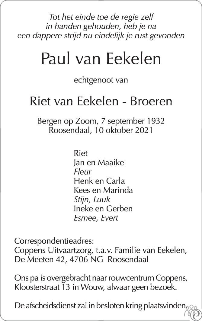 Overlijdensbericht van Paul van Eekelen in BN DeStem