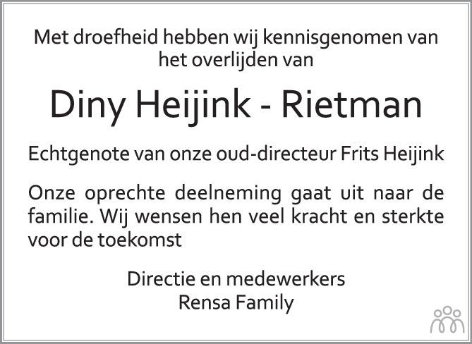 Overlijdensbericht van Diny Heijink-Rietman in de Gelderlander