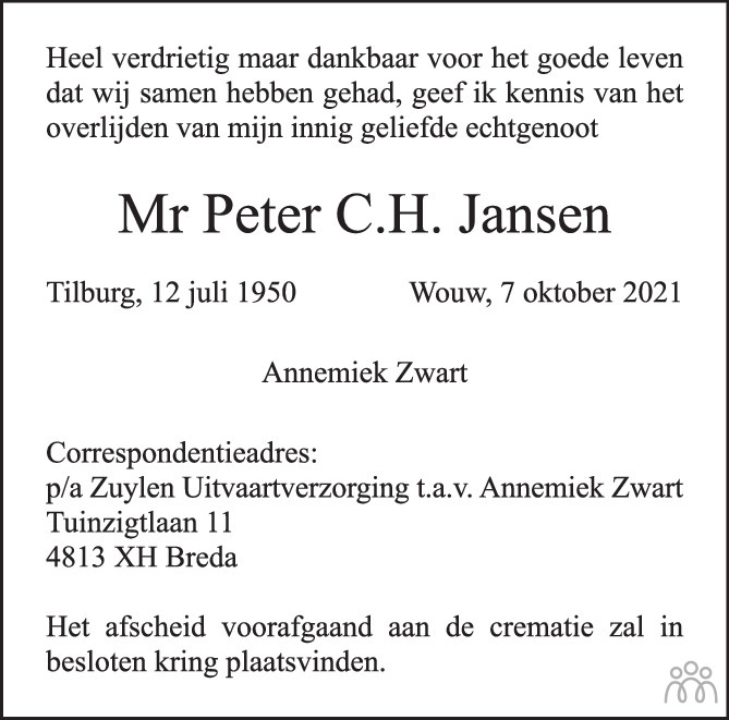 Overlijdensbericht van Peter C.H. Jansen in BN DeStem