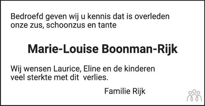 Overlijdensbericht van Maria-Louise Boonman-Rijk in PZC Provinciale Zeeuwse Courant