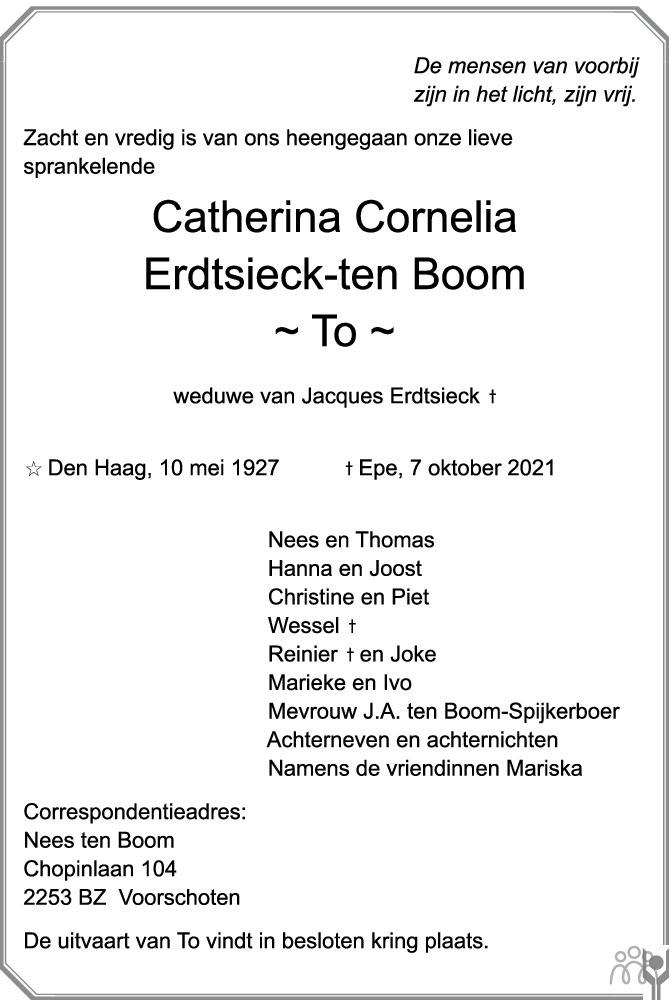 Overlijdensbericht van Catherina Cornelia (To) Erdtsieck-ten Boom in de Stentor