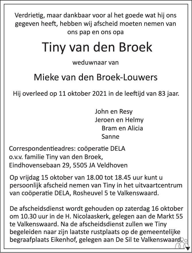 Overlijdensbericht van Tiny van den Broek in Eindhovens Dagblad