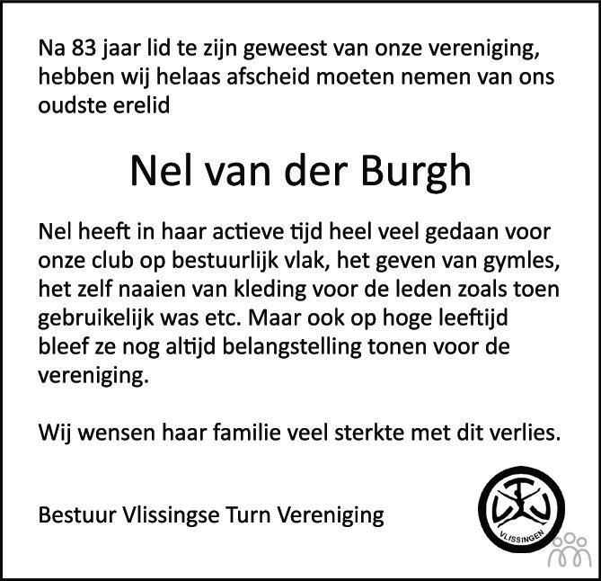 Overlijdensbericht van Neeltje Maria (Nel) van der Burgh-Kats in PZC Provinciale Zeeuwse Courant