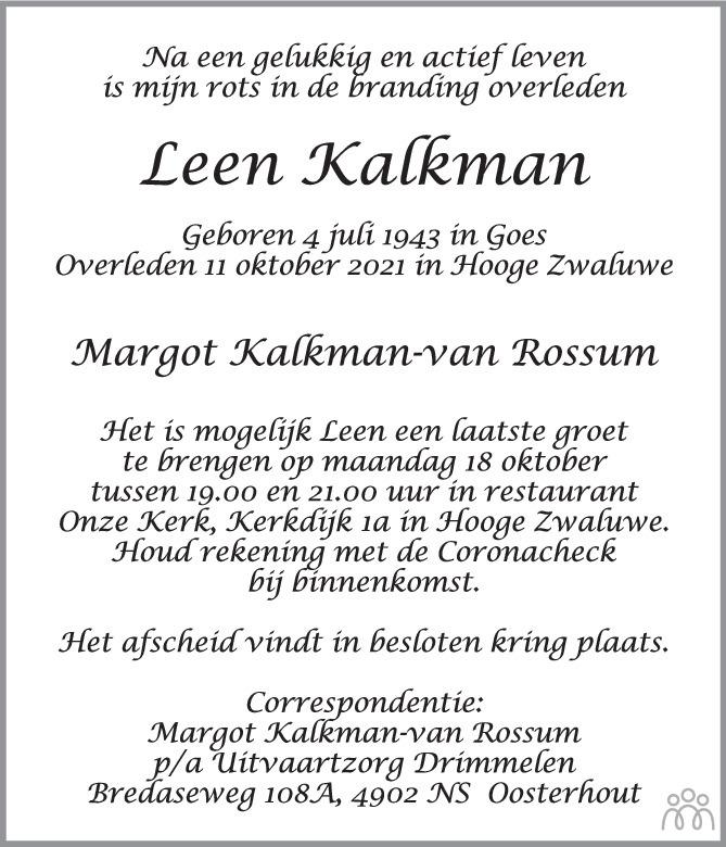 Overlijdensbericht van Leen Kalkman in BN DeStem