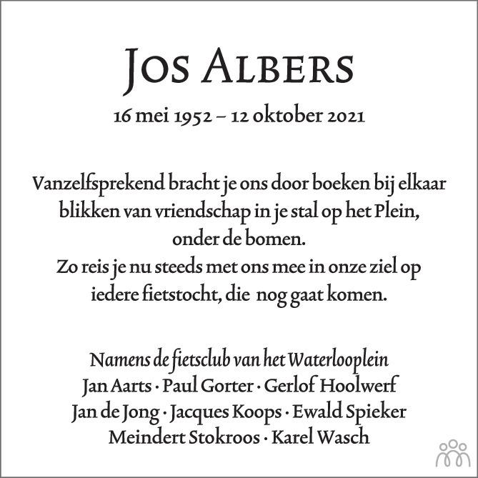 Overlijdensbericht van Jos Albers in Het Parool