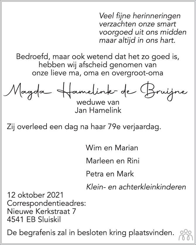 Overlijdensbericht van Magda Hamelink-de Bruijne in PZC Provinciale Zeeuwse Courant
