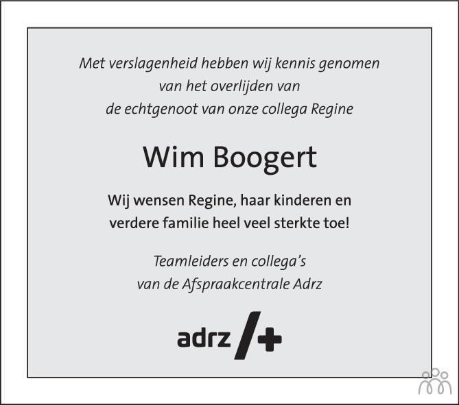 Overlijdensbericht van Wim Boogert in PZC Provinciale Zeeuwse Courant