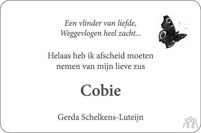 Overlijdensbericht van Cobie Hamelink-Luteijn in PZC Provinciale Zeeuwse Courant