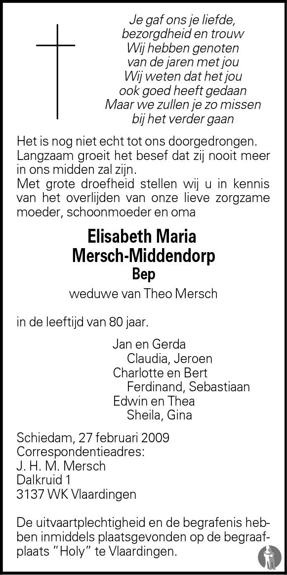 Overlijdensbericht van Elisabeth Maria (Bep) Mersch - Middendorp in Groot Vlaardingen