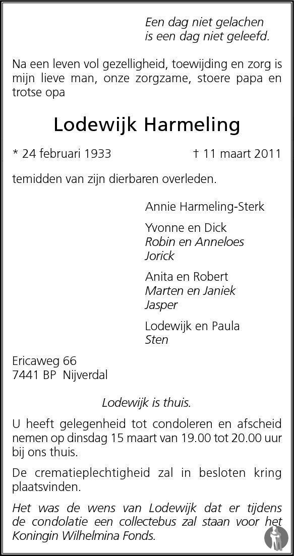 Lodewijk Harmeling ✝ 11-03-2011 overlijdensbericht en condoleances ...