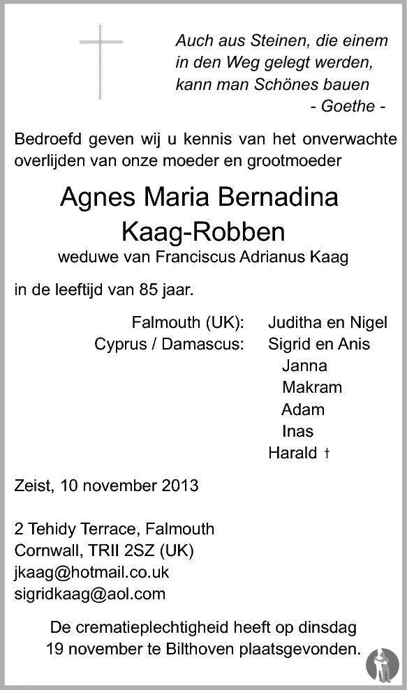 Overlijdensbericht van Agnes Maria Bernadina Kaag - Robben in De Nieuwsbode