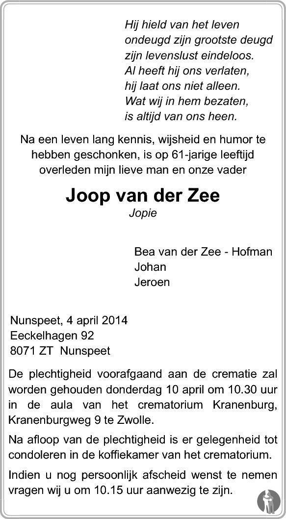 Joop Van Der Zee 04 04 2014 Overlijdensbericht En