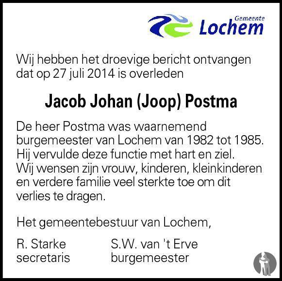 Overlijdensbericht van Jacob Johan Postma in Berkelbode