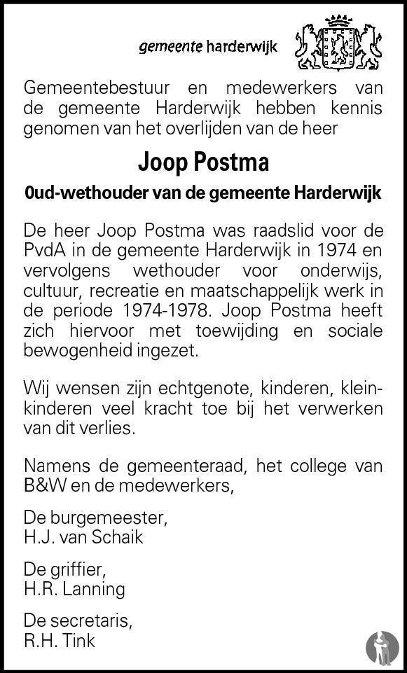 Overlijdensbericht van Jacob Johan Postma in Harderwijker Courant