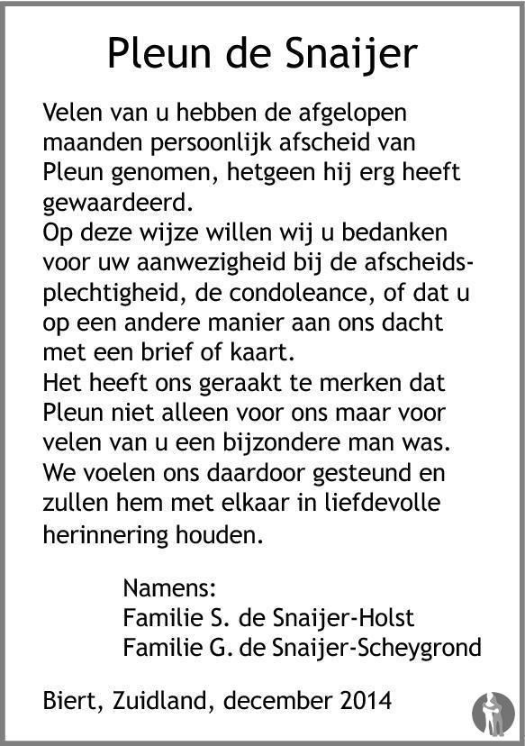 Overlijdensbericht van Pleun de Snaijer in Brielsche Courant/Hellevoetse Post