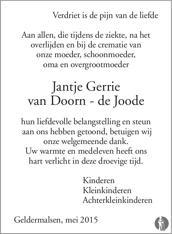 Jantje Gerrie van Doorn - de Joode ✝ 19-05-2015 overlijdensbericht ...