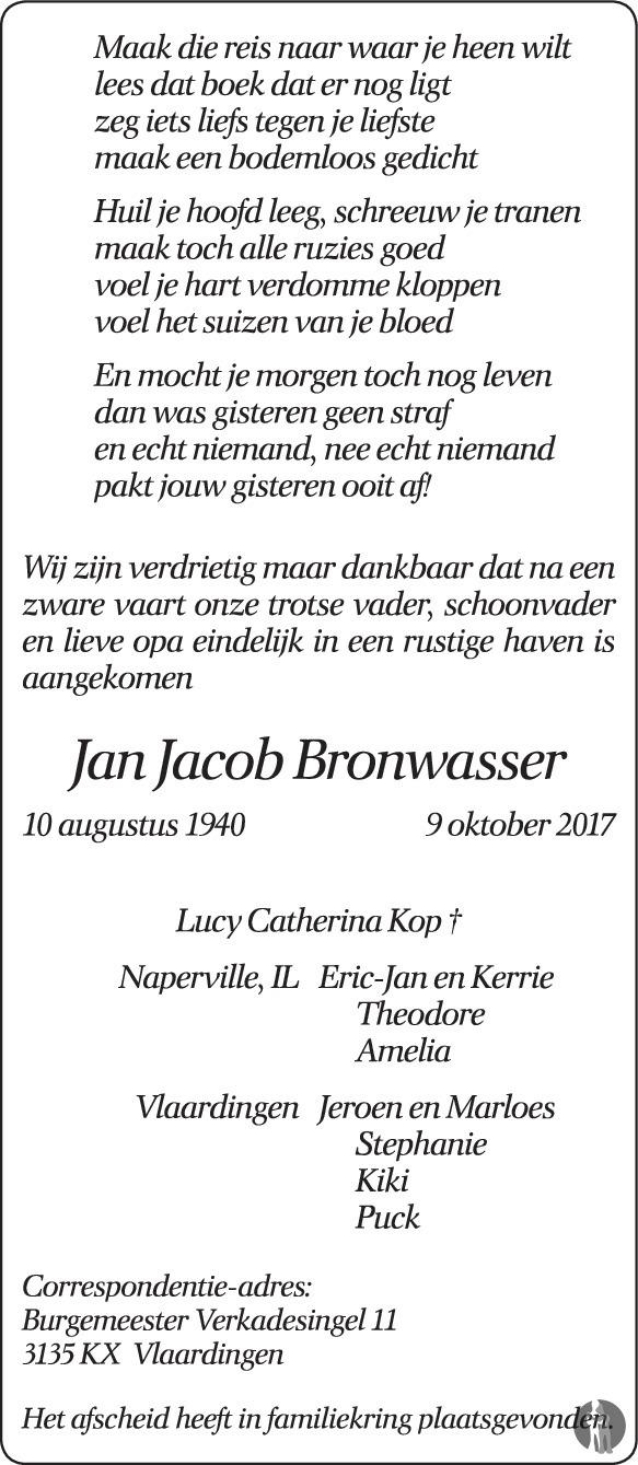 Jan Jacob Bronwasser 09 10 2017 Overlijdensbericht En
