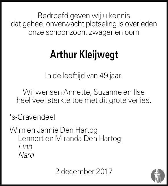 Overlijdensbericht van Arthur Richard Wilfred Kleijwegt in Het Kompas woensdag