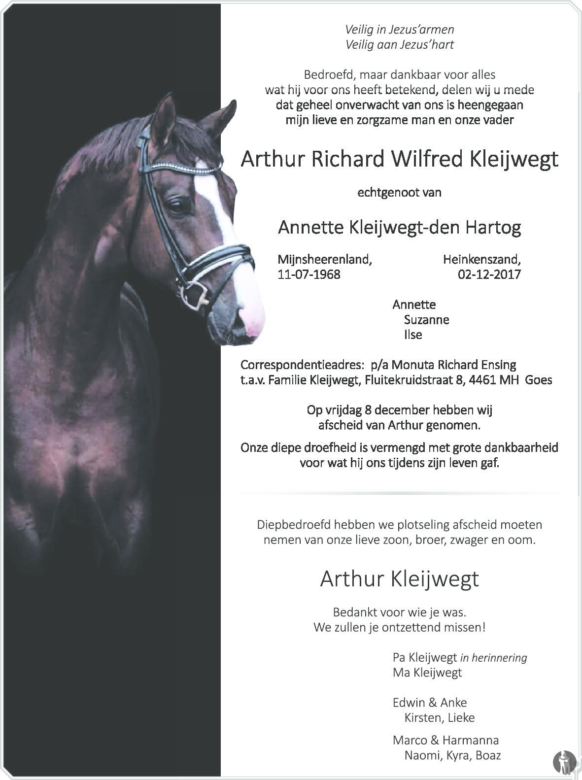 Overlijdensbericht van Arthur Richard Wilfred Kleijwegt in Het Kompas vrijdag